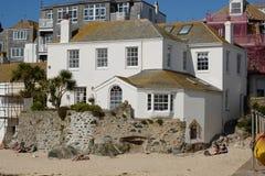 House no beach at Saint Ives, Cornwall, England Stock Image