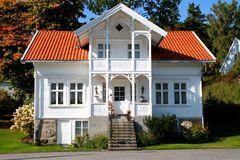 House in Norway. A white house in Norway Stock Photo