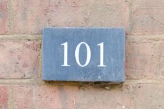 Free House Number 101 Sign Royalty Free Stock Photo - 109815765