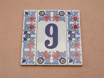 house-number-9-tile Stock Photo