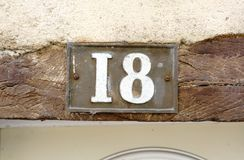 House number 18 Stock Photo