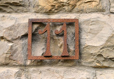 House number eleven Royalty Free Stock Photo