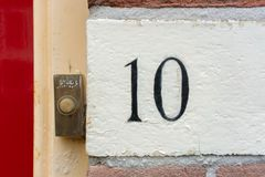 House number 10. Hand painted house number ten 10 Stock Photography