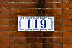 House number 119. House number one hundred and nineteen 119 Royalty Free Stock Photography