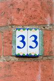 House Number 33 Stock Photography