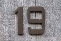 House number 19 stock photography