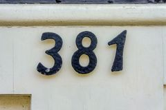 House number 381. House number thee hundred and eighty one 381 Stock Image