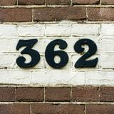 House number 362. House number thee hundred and sixty two 362 Stock Photos