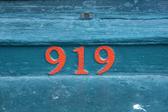 House number 919 at an old house in the Bourbon street Stock Image