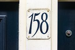 House number 158. House number one hundred and fifty eight 158 Royalty Free Stock Images