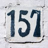 House number 157. House number one hundred and fifty seven 157 Stock Image