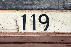House number 119. House number one hundred and nineteen 119 Stock Images