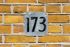 House number  173. House number one hundred and seventy three 173 Royalty Free Stock Photo