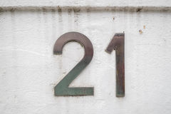 House number 21. House number plaque with the number 21 Stock Photos