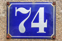 House Number Plate in France. Blue house number plate in France Royalty Free Stock Photo