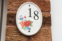 House Number Plate - No. 18 royalty free stock photos