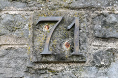 House number seventy-one. Old Italian house number seventy-one Stock Image