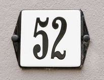 House number 52 Royalty Free Stock Photography