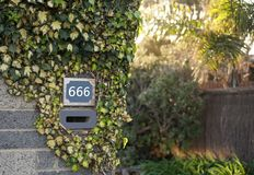 Number of the beast 666. House number sign: number of the beast 666 royalty free stock photos