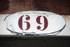 House Number Sign in Venice,Number 69 Royalty Free Stock Photography