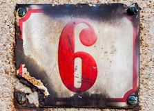 House number six, 6 stock photo