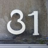 House number 31. House number  thirty one 31 Stock Image