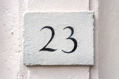 House number 23. House number twenty three 23 Royalty Free Stock Photos