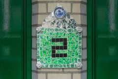 House number  2. House number two 2 made of mosaik tiles Royalty Free Stock Image