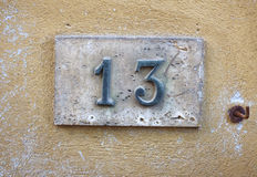 House number on wall Stock Photos