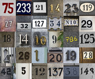 House numbers. Thirty different and colourful house numbers Royalty Free Stock Photo