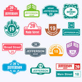 House numbers boards sign vector illustration