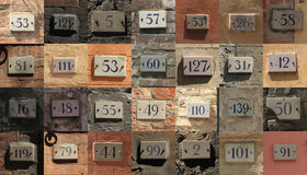 House numbers. Collage of weathered house numbers in Siena, Italy Royalty Free Stock Photo