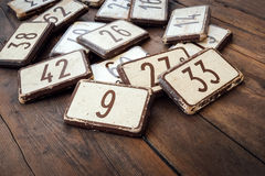 House numbers. At the flea market Royalty Free Stock Photo