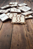 House numbers. At the flea market Stock Photo