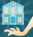 House Offer. Ing hand cartoon, color vector illustration vertical Royalty Free Stock Photos