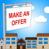 House Offer Sign Represents Displaying Bungalow And Proposal Stock Image