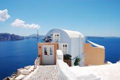 House in Oia, Santorini. Beautiful view in Oia (Santorini island, Greece stock photography