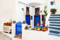 House in Oia, Santorini. Beauty colorful house in Oia. Oia or Ia is a small town on the islands of Santorini in the Cyclades, Greece Stock Photography