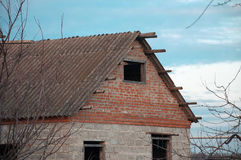 House, old barn roof sky Stock Photography