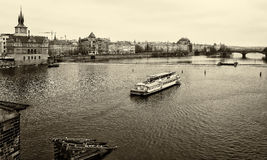 House of old Prague and Vltava river. Royalty Free Stock Photography