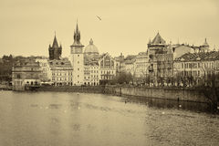 House of old Prague and Vltava river Royalty Free Stock Image