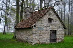 The house. Old stone house in foggy forrest Stock Photos