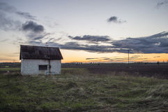 House. An old unused house at an empty field Royalty Free Stock Photography