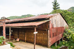 House old wood and rust roof zinc in natural Stock Image