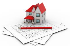 House On A Blueprint Royalty Free Stock Photos