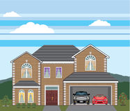 House with open garage. 2 cars, open garage, brick real estate. Royalty Free Stock Images