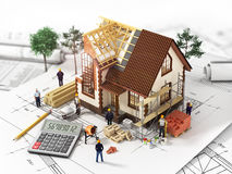 House with open interior on top of blueprints,. Documents and mortgage calculations and workers. Construction concept royalty free stock photo