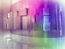 House open space, clean room with shapes in 3d, business space, Royalty Free Stock Image