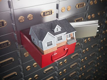 House in opened safe deposit box. Home safety or investment and. Savings concept. 3d illustration Stock Photos