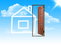 House and openning door Stock Photos